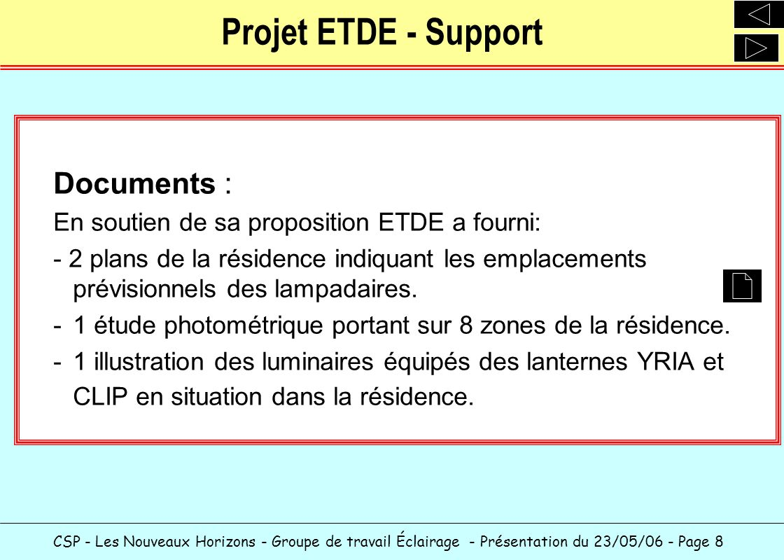 Projet ETDE - Support Documents :