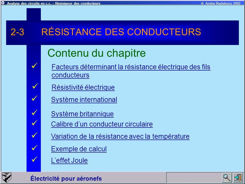2-3 RÉSISTANCE DES CONDUCTEURS