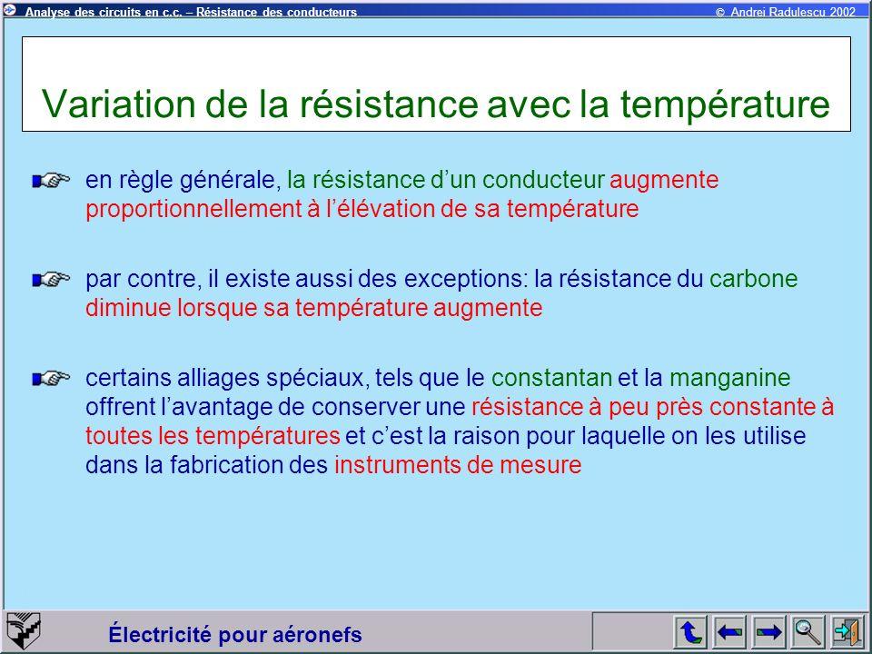 Variation de la résistance avec la température