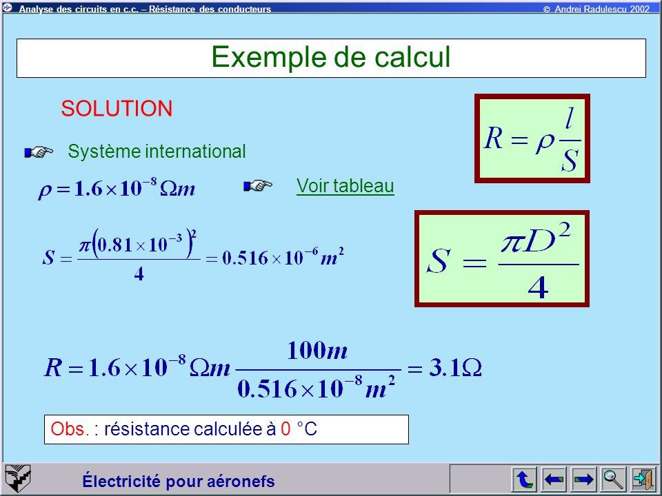 Exemple de calcul SOLUTION Système international Voir tableau