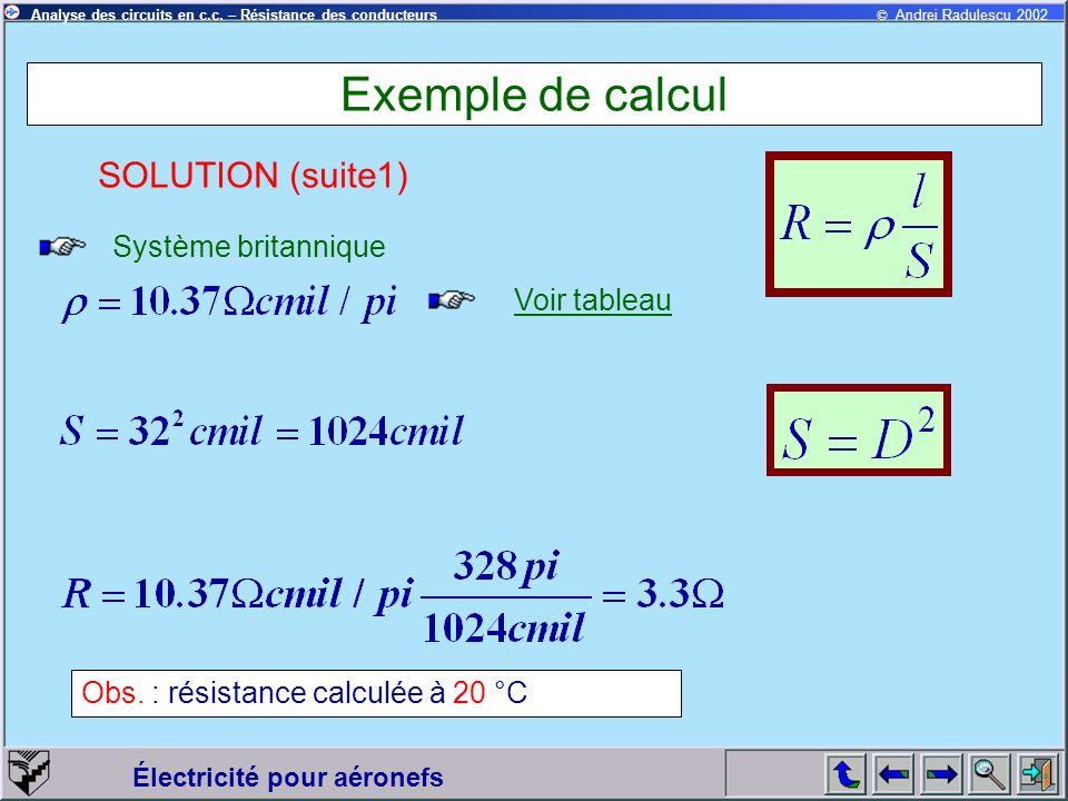 Exemple de calcul SOLUTION (suite1) Système britannique Voir tableau