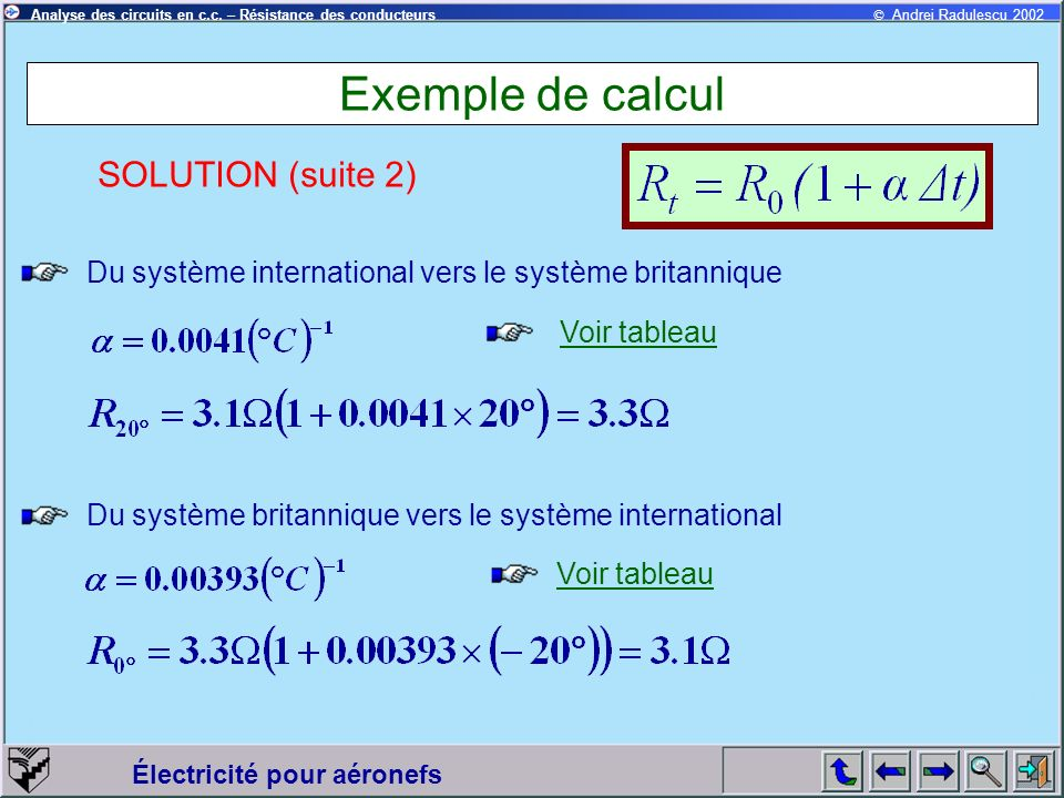Exemple de calcul SOLUTION (suite 2)
