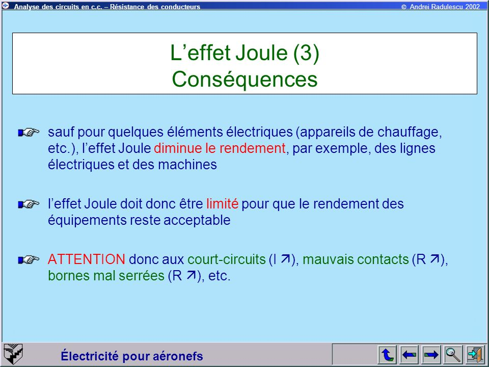 L'effet Joule (3) Conséquences