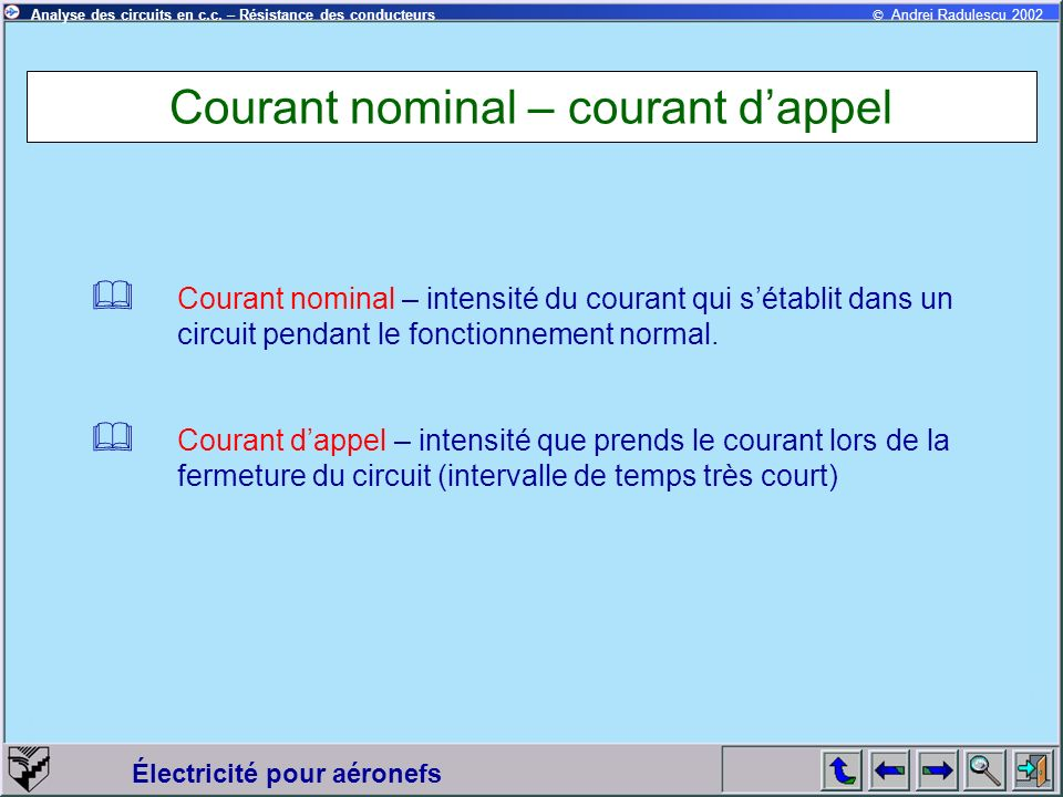 Courant nominal – courant d'appel