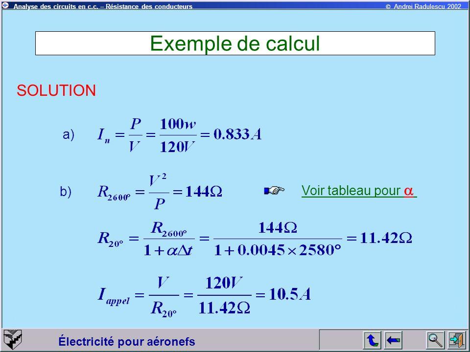 Exemple de calcul SOLUTION a) Voir tableau pour a b)