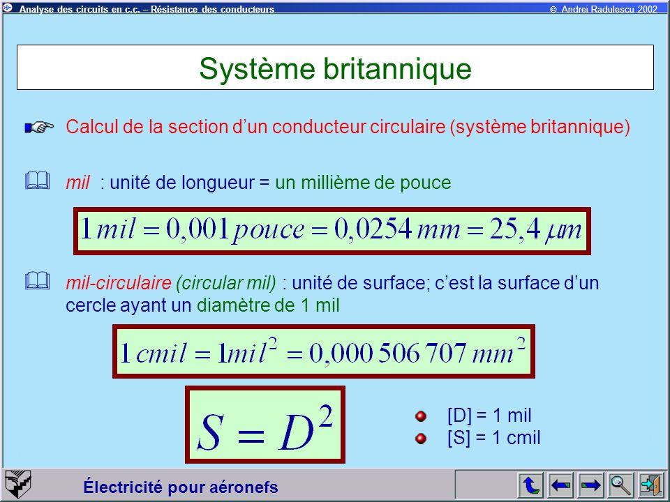 Système britannique Calcul de la section d'un conducteur circulaire (système britannique) mil : unité de longueur = un millième de pouce.