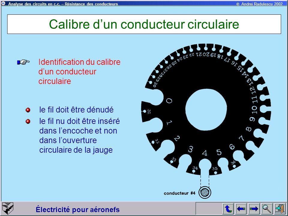 Calibre d'un conducteur circulaire