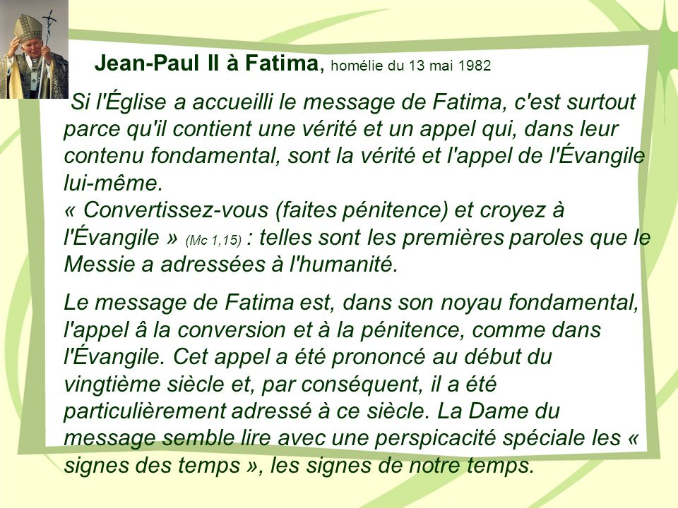 Jean-Paul II à Fatima, homélie du 13 mai 1982