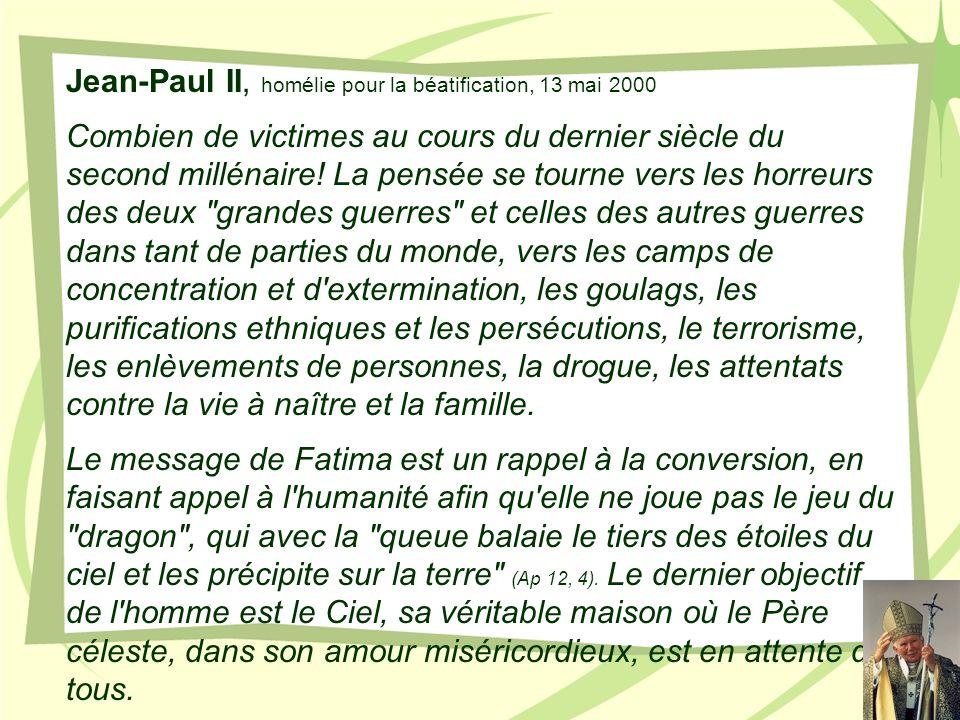 Jean-Paul II, homélie pour la béatification, 13 mai 2000