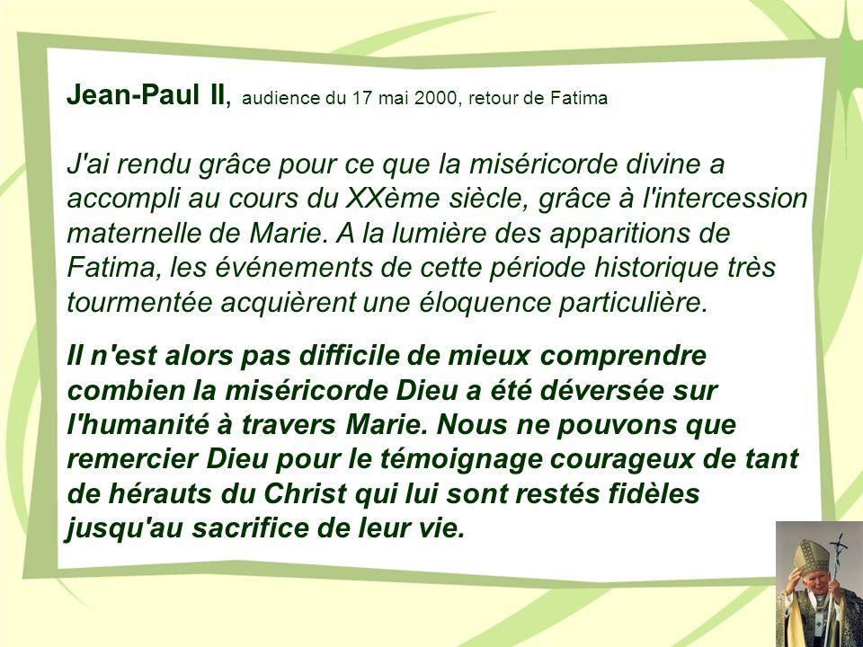Jean-Paul II, audience du 17 mai 2000, retour de Fatima
