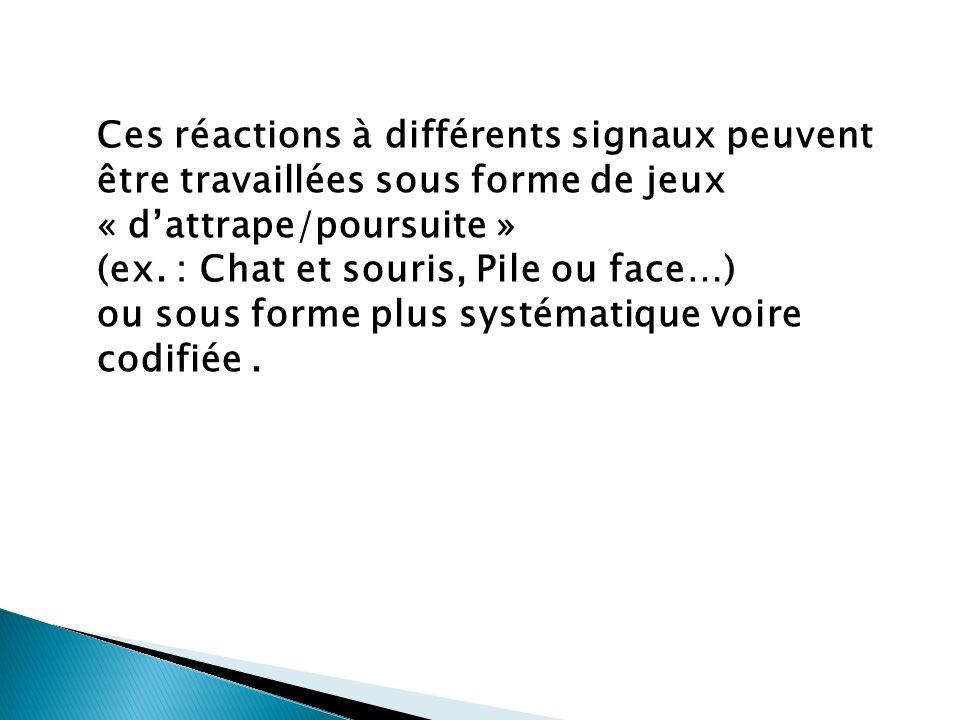Ces réactions à différents signaux peuvent être travaillées sous forme de jeux