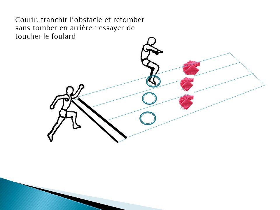 Courir, franchir l'obstacle et retomber sans tomber en arrière : essayer de toucher le foulard