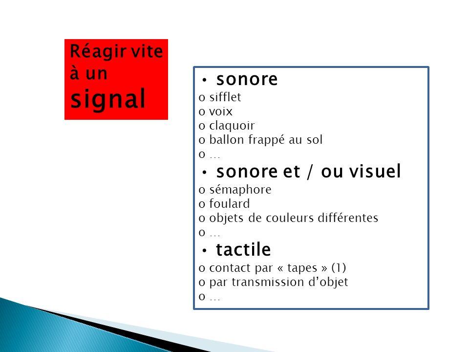 Réagir vite à un signal • sonore • sonore et / ou visuel • tactile