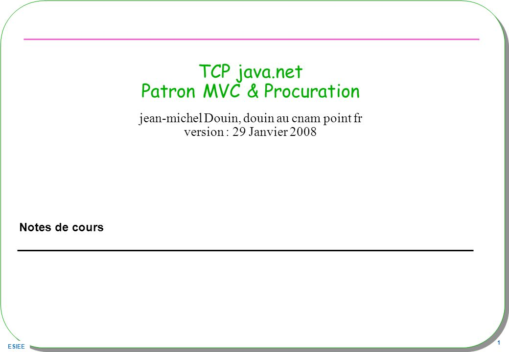 TCP java.net Patron MVC & Procuration