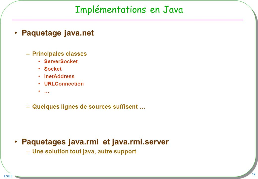 Implémentations en Java