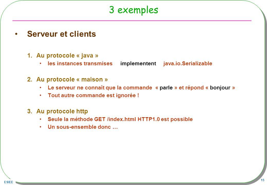 3 exemples Serveur et clients Au protocole « java »