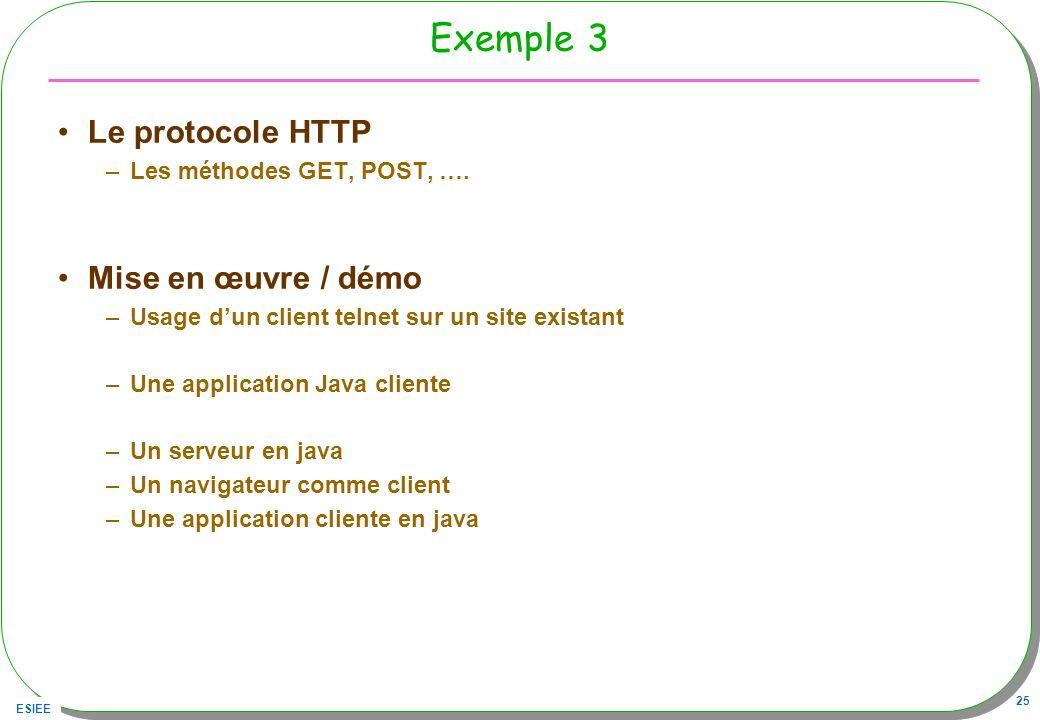 Exemple 3 Le protocole HTTP Mise en œuvre / démo