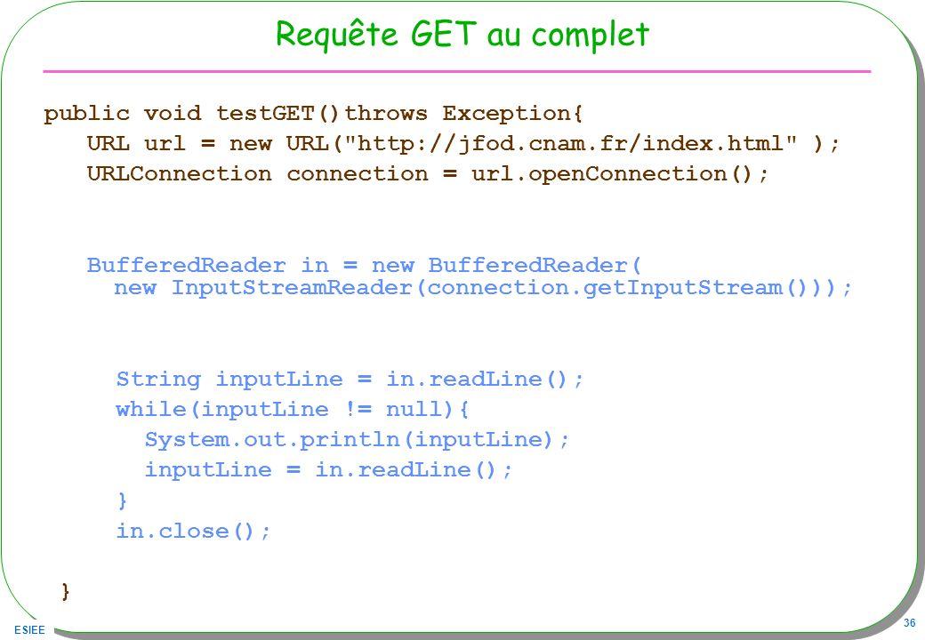 Requête GET au complet public void testGET()throws Exception{