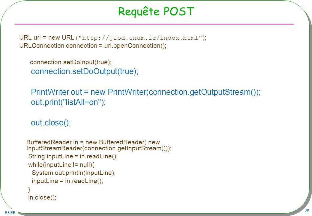 Requête POST connection.setDoOutput(true);