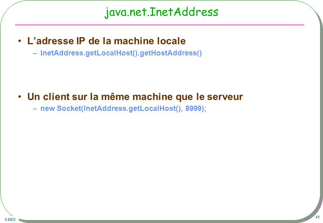 java.net.InetAddress L'adresse IP de la machine locale