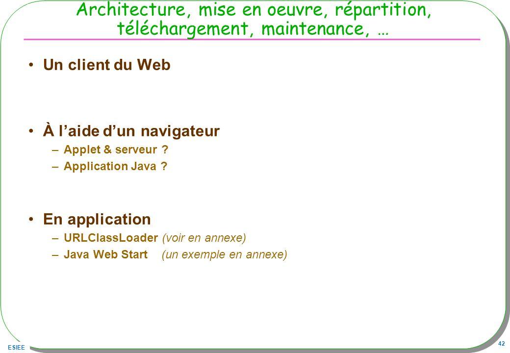 Architecture, mise en oeuvre, répartition, téléchargement, maintenance, …