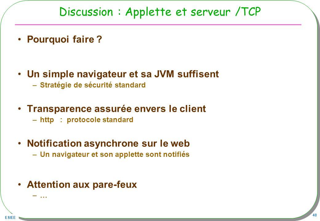 Discussion : Applette et serveur /TCP