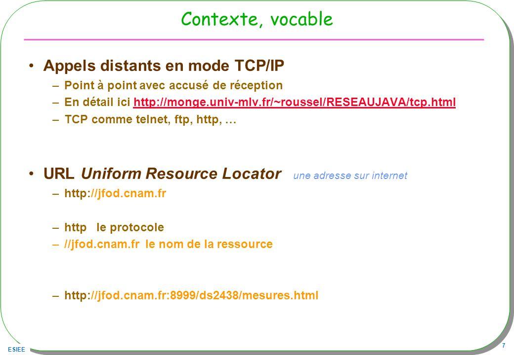 Contexte, vocable Appels distants en mode TCP/IP