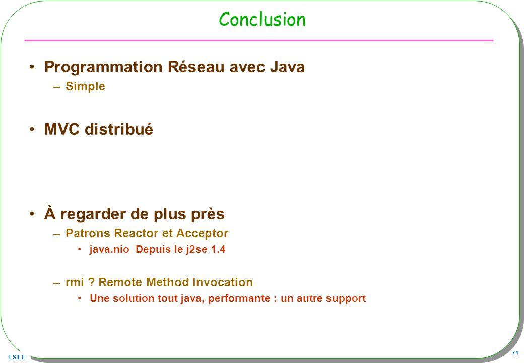 Conclusion Programmation Réseau avec Java MVC distribué