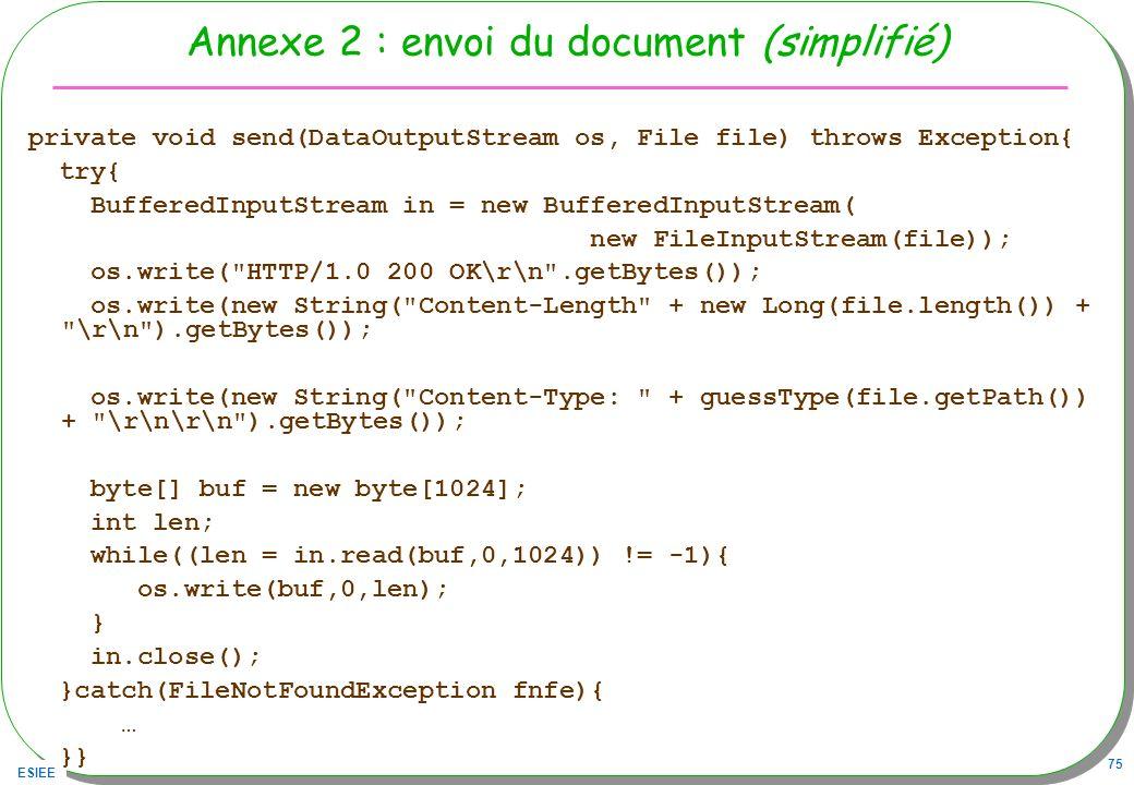 Annexe 2 : envoi du document (simplifié)