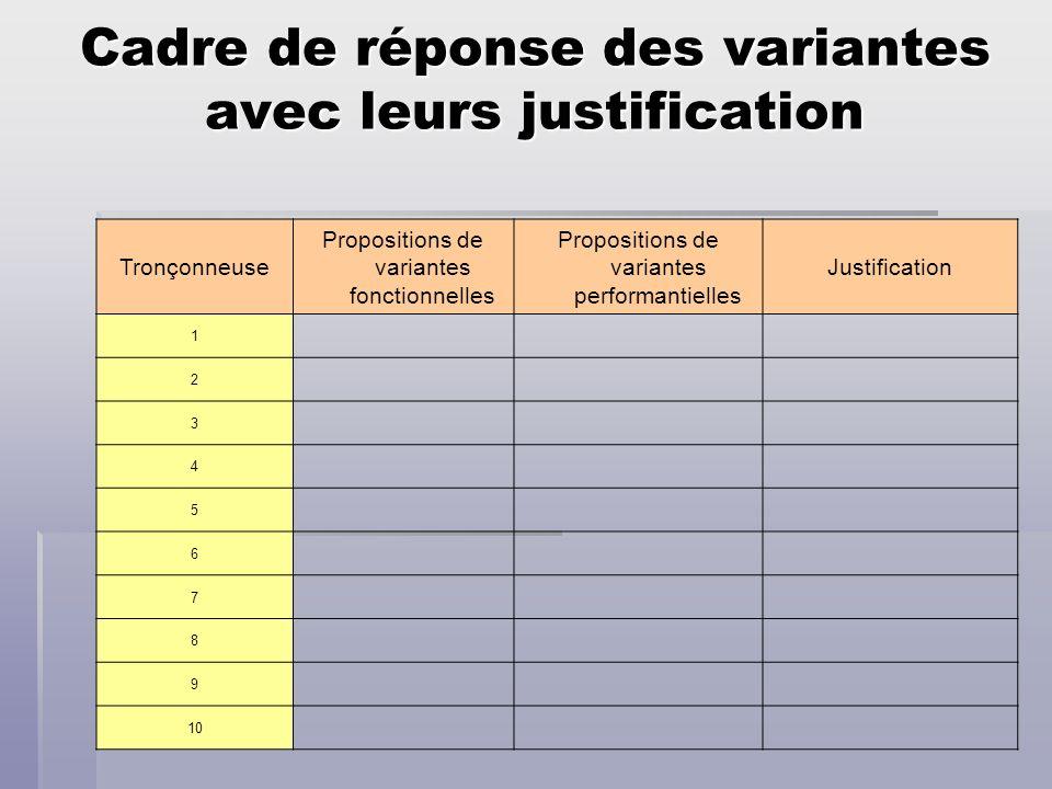 Cadre de réponse des variantes avec leurs justification