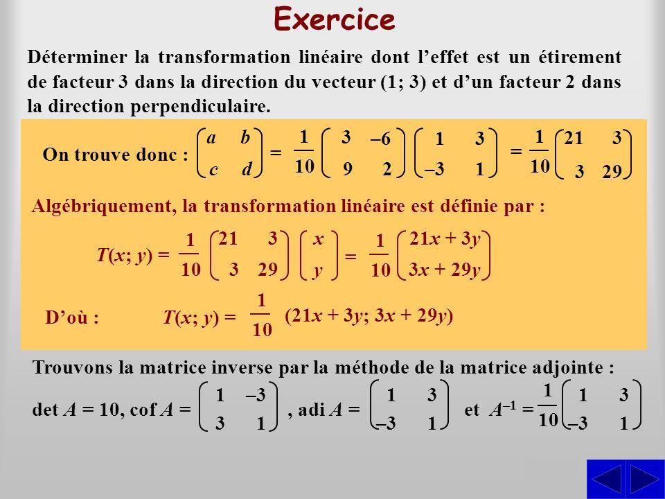 T(1; 3) = (3; 9) et T(–3; 1) = (–6; 2)