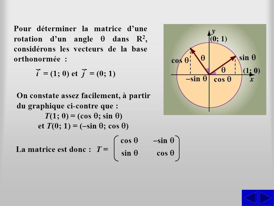 Pour déterminer la matrice d'une rotation d'un angle q dans R2, considérons les vecteurs de la base orthonormée :