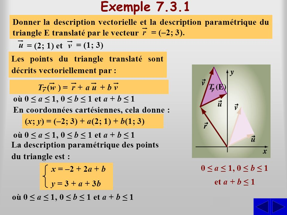 Exemple 7.3.1 Donner la description vectorielle et la description paramétrique du triangle E construit sur les vecteurs :