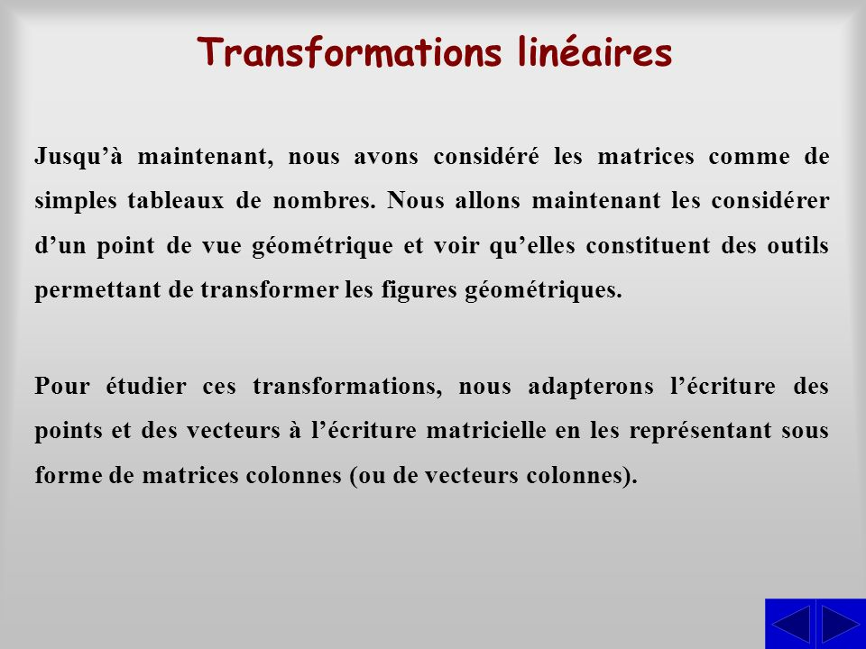 Transformations linéaires