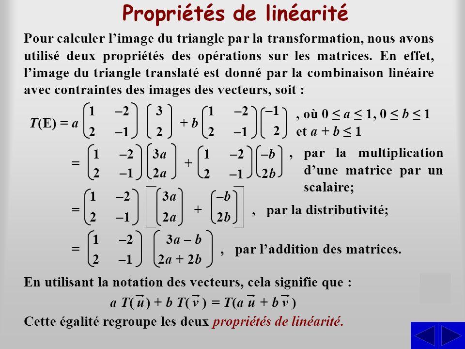 Propriétés de linéarité
