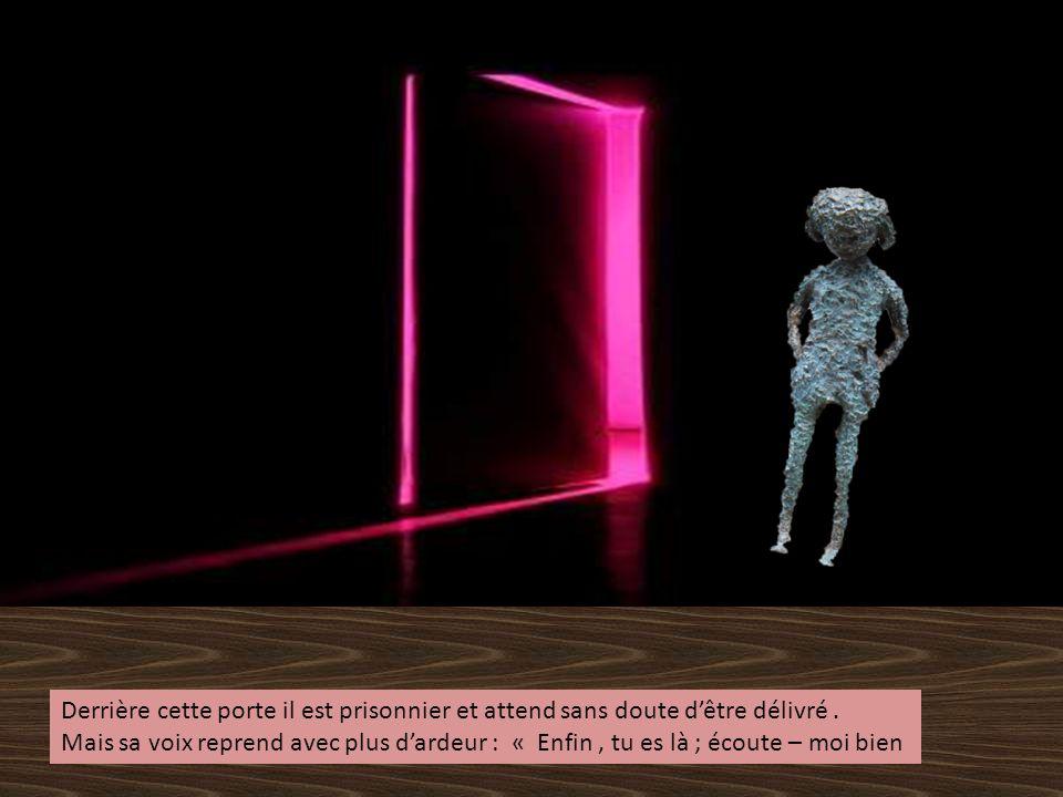 Derrière cette porte il est prisonnier et attend sans doute d'être délivré .