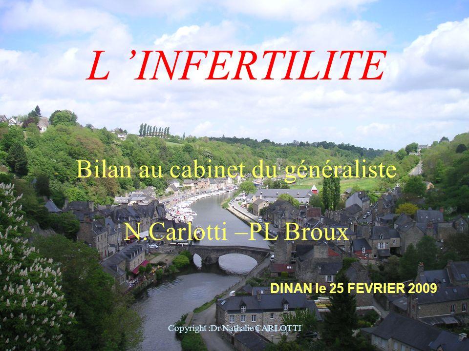 L 'INFERTILITE Bilan au cabinet du généraliste N.Carlotti –PL Broux
