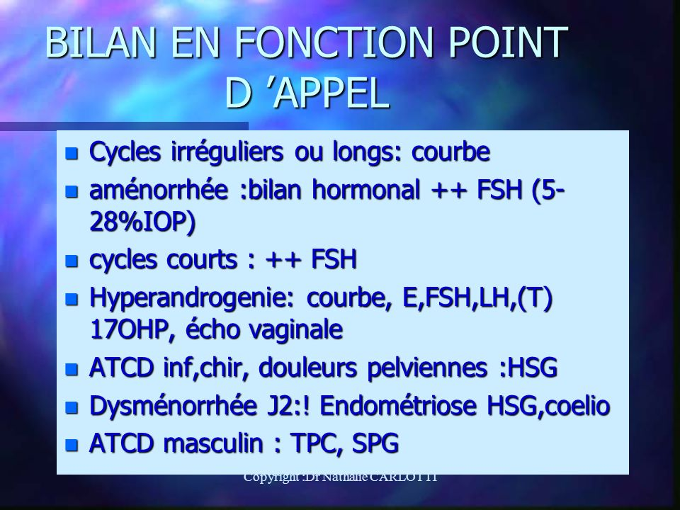 BILAN EN FONCTION POINT D 'APPEL