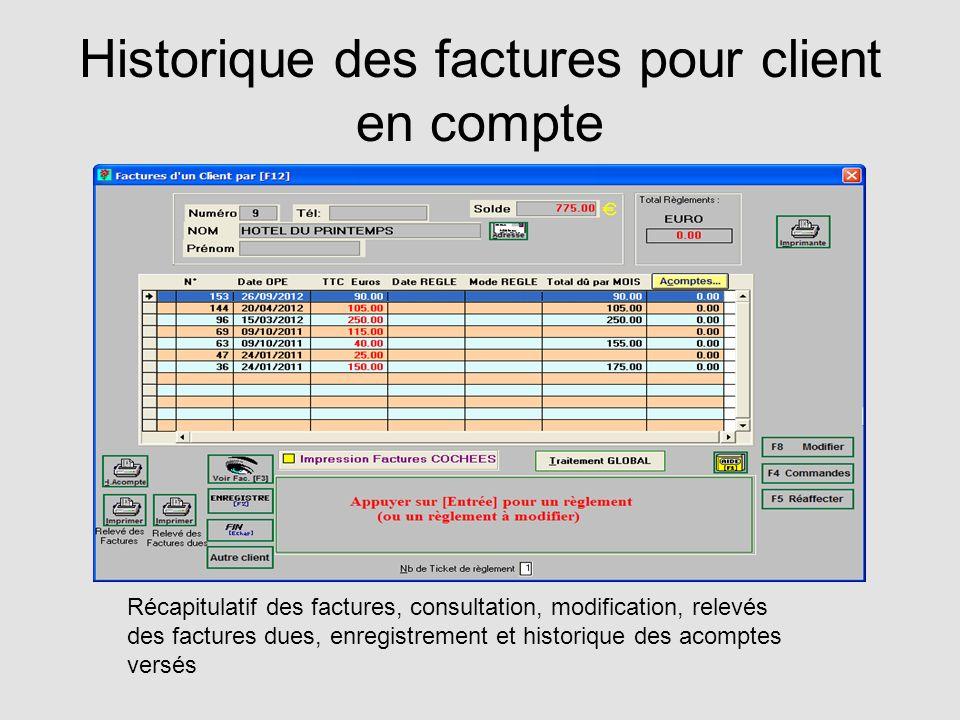 Historique des factures pour client en compte
