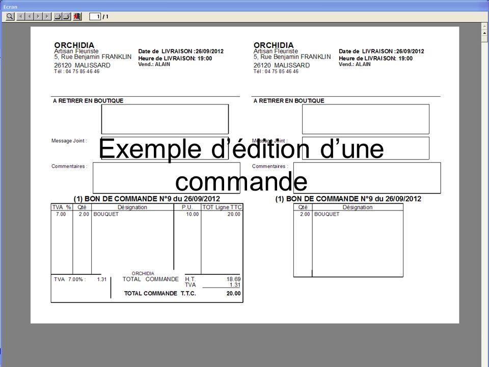 Exemple d'édition d'une commande