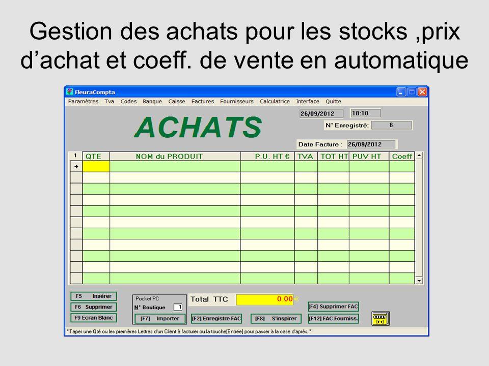 Gestion des achats pour les stocks ,prix d'achat et coeff