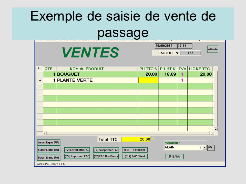 Exemple de saisie de vente de passage