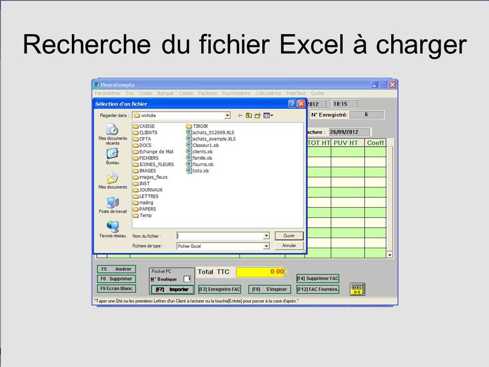 Recherche du fichier Excel à charger