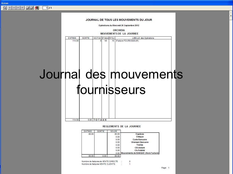Journal des mouvements fournisseurs