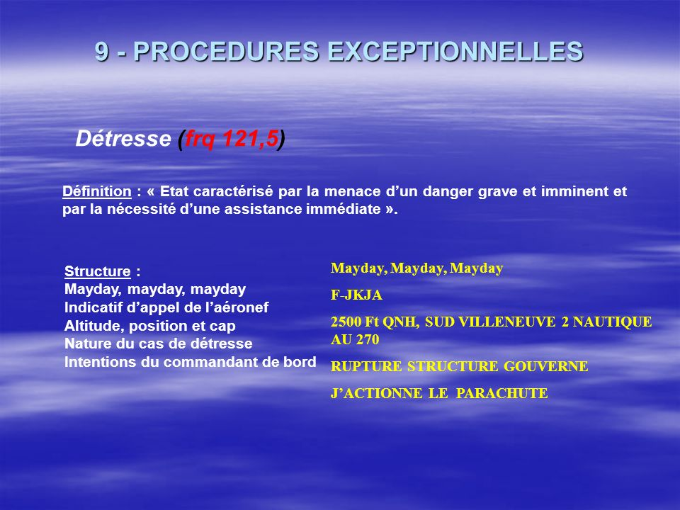 9 - PROCEDURES EXCEPTIONNELLES