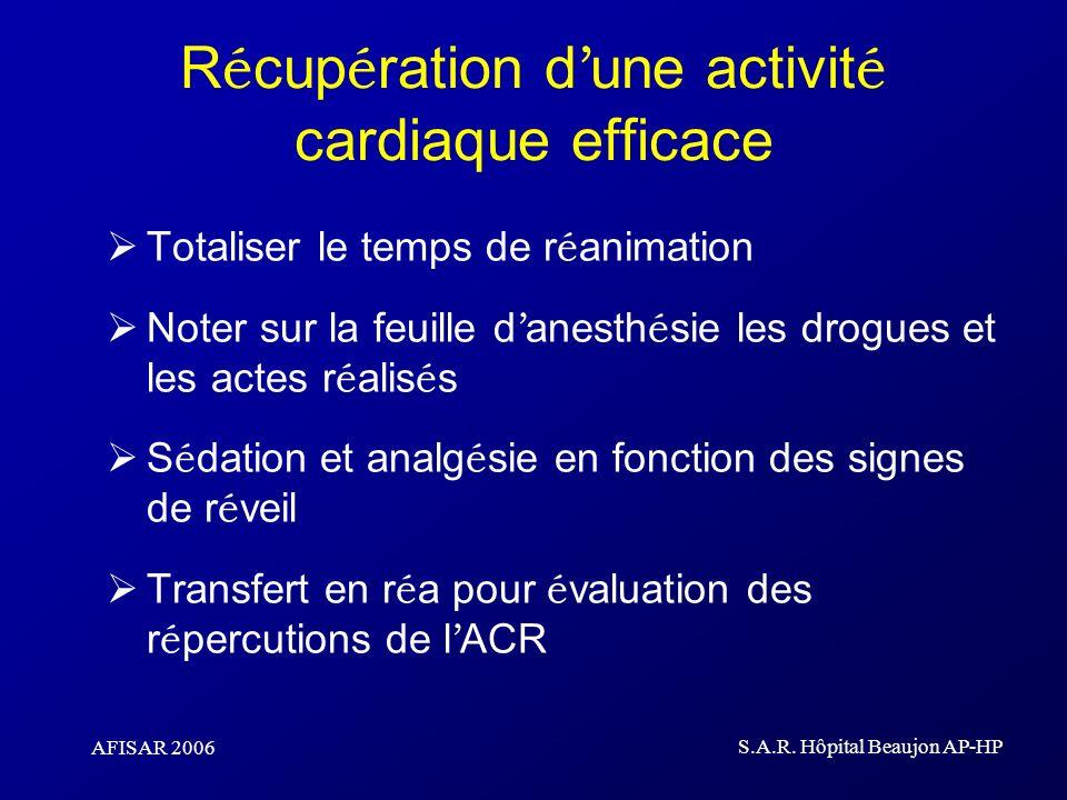 Récupération d'une activité cardiaque efficace