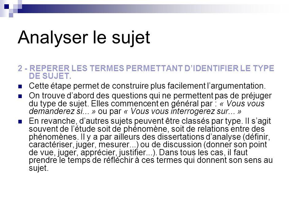 Analyser le sujet 2 - REPERER LES TERMES PERMETTANT D'IDENTIFIER LE TYPE DE SUJET. Cette étape permet de construire plus facilement l'argumentation.