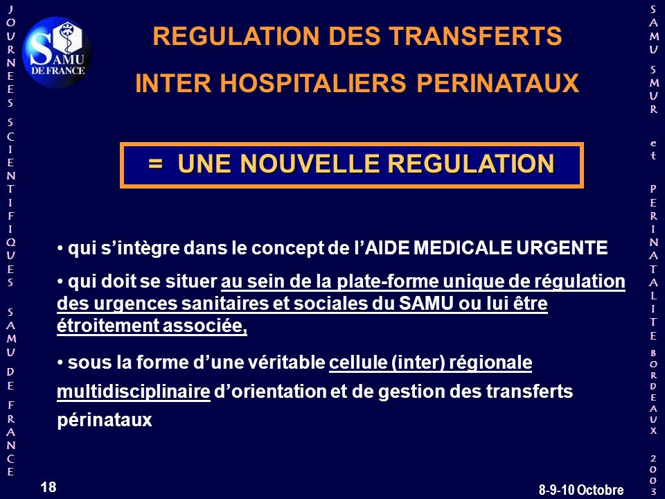 REGULATION DES TRANSFERTS INTER HOSPITALIERS PERINATAUX