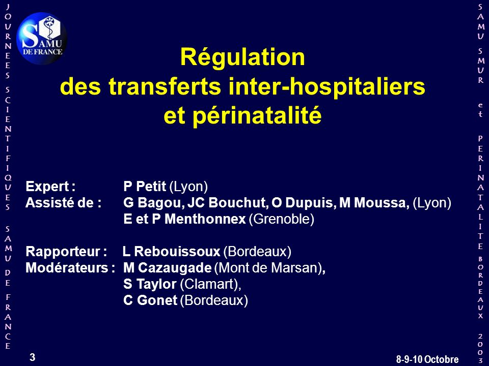 des transferts inter-hospitaliers