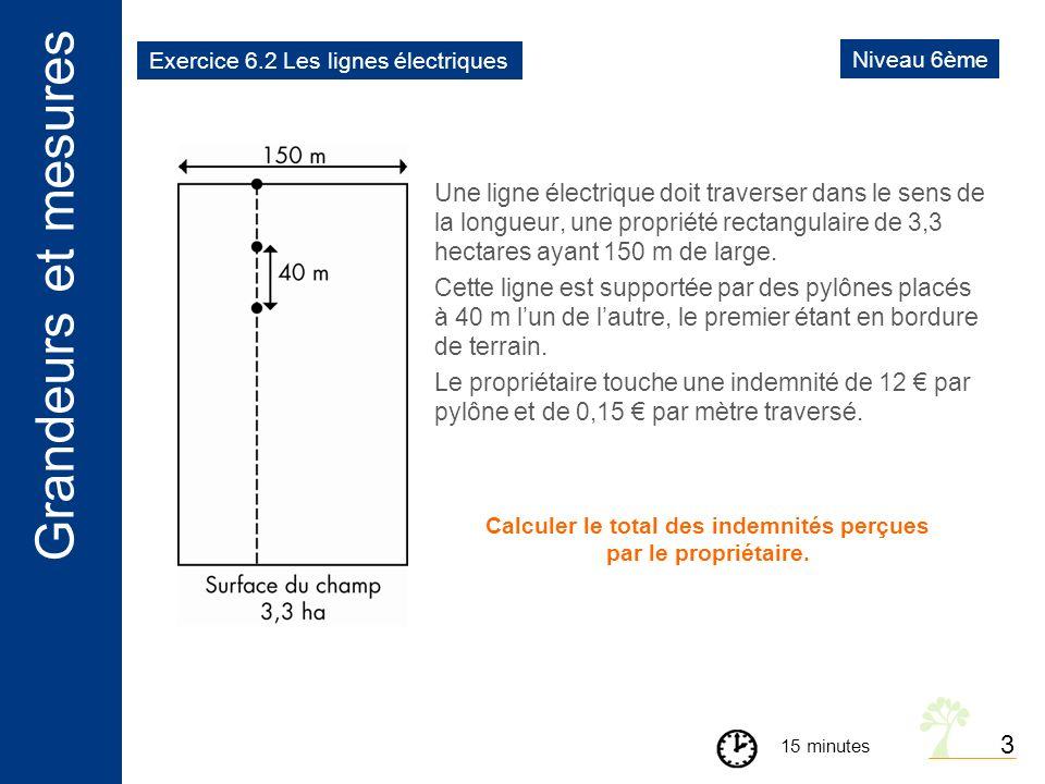 Calculer le total des indemnités perçues par le propriétaire.